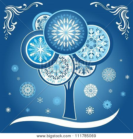 Winter Card with Tree and Snowflakes