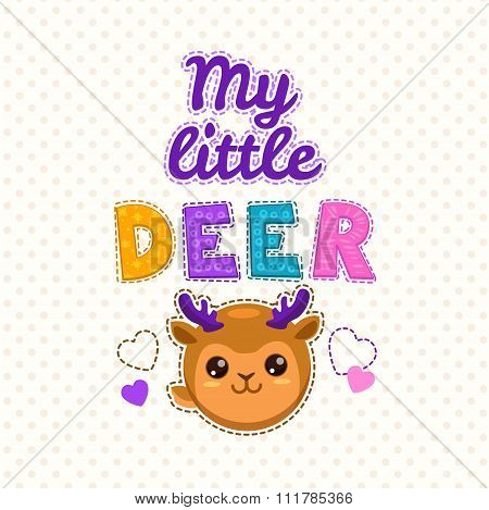 Cute kids illustration with a deer face