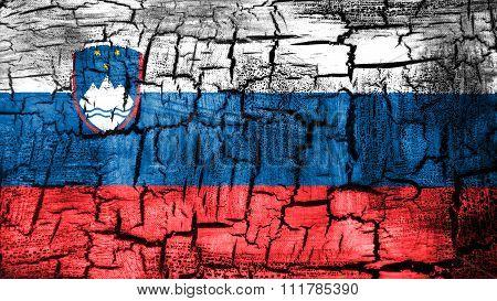 Slovenia flag, Slovenian Flag painted on cracked ground