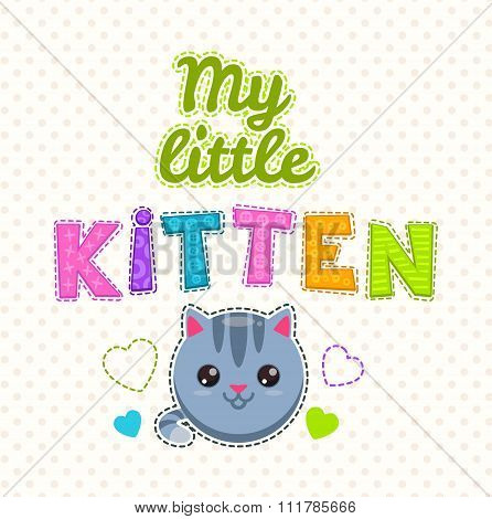 Cute kids illustration with a kitten face