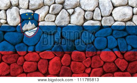 Slovenia flag, Slovenian Flag painted on stones