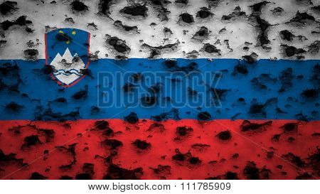 Slovenia flag, Slovenian Flag painted on wall with bullet holes