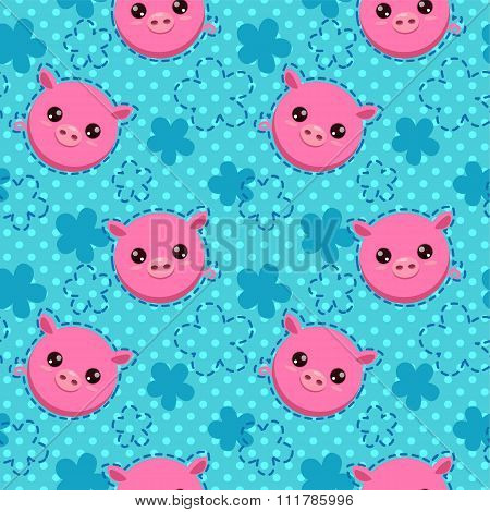 Funny seamless pattern with cute piglets