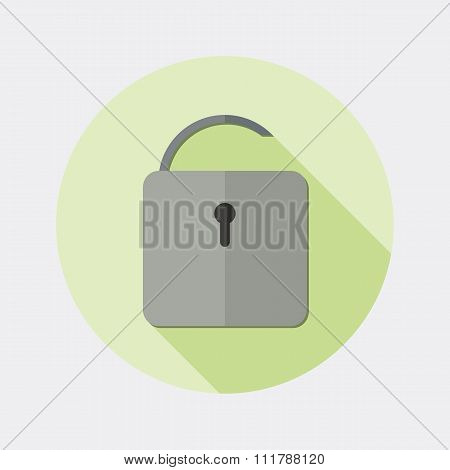 Flat design open padlock icon with long shadow