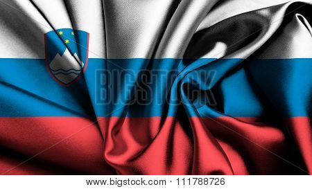 Slovenia flag, Slovenian Flag painted on silk