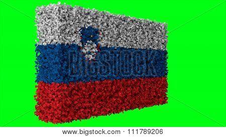Slovenia flag, Slovenian Flag made from leaves