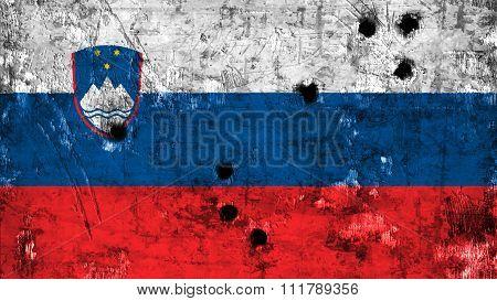 Slovenia flag, Slovenian Flag painted on metal with bullet holes