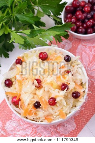 Vegetable Salad With Cabbage And Cranberries