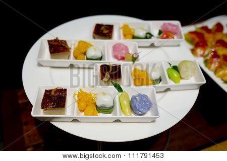 Thai Dessert Set. (a Kind Of Thai Sweetmeat,egg Custard,form Of Pudding)