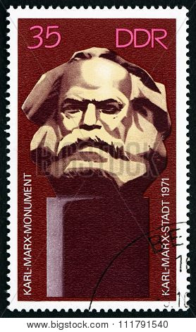 Postage Stamp Germany 1971 Karl Marx Monument