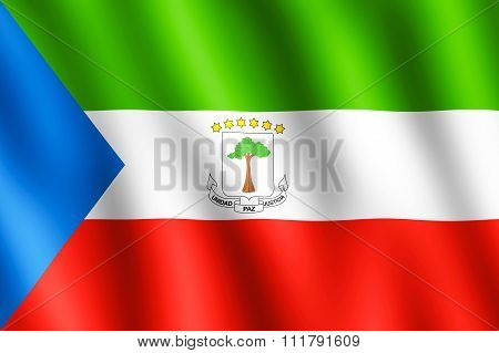 Flag Of Equatorial Guinea Waving In The Wind