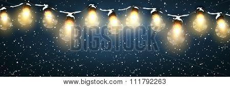 Christmas Lights With Snow.