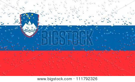 Flag of Slovenia, Slovenian Flag with water drops