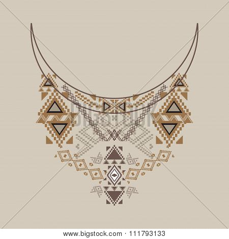 Neckline Design In Ethnic Style For Fashion. Aztec Neck Print