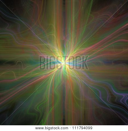 Abstract Black Background With Rainbow Colored Cross Or Rays In The Center Texture, Fractal