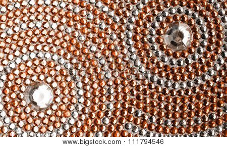 orange and silver texture with crystals