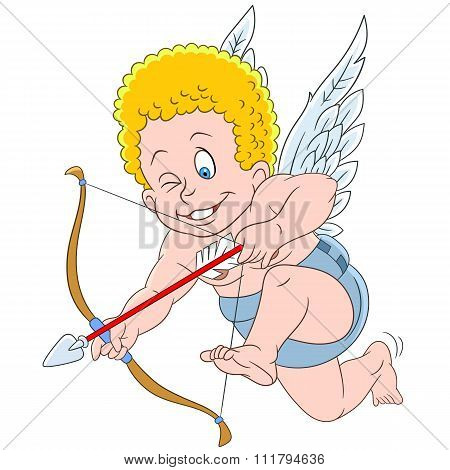 Cute Cartoon Aiming Cupid