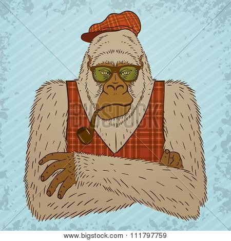 Melancholic Yeti With Smoking Pipe, Tartan Waistcoat And Hat.