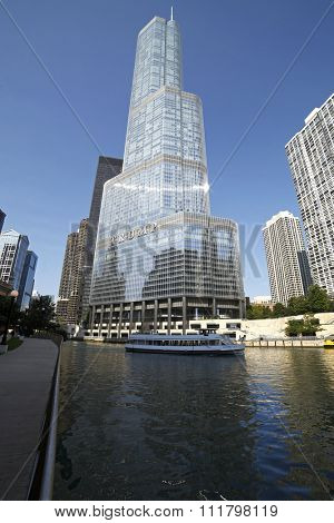 CHICAGO - JUNE 14: The Trump Tower on September 9, 2014 in Chicago, Illinois. The Trump Tower is 92-stories tall and was completed in 2008.