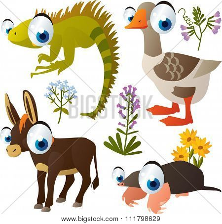 vector cute animals cartoon style: iguana, goose, donkey, mole