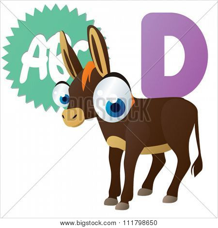 vector cute comic cartoon cool animals alphabet set: D is for Donkey