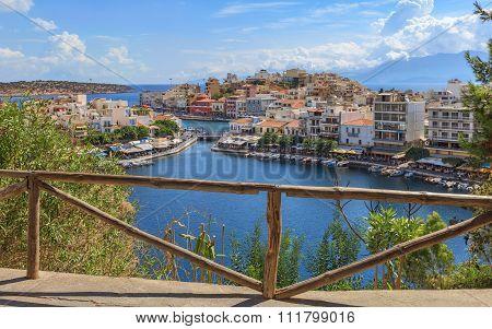 View over Agios Nikolaos from viewpoint, Crete