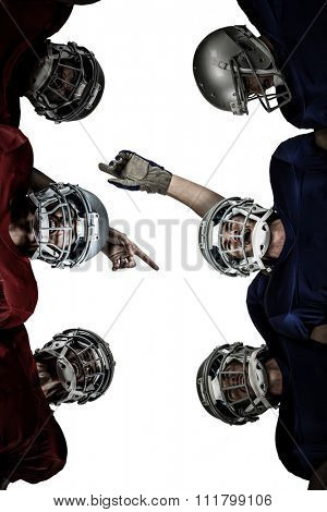 American football huddle against white background with vignette