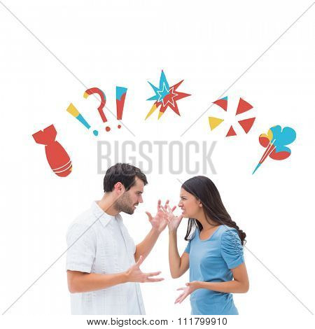 Angry brunette shouting at boyfriend against swearing doodles