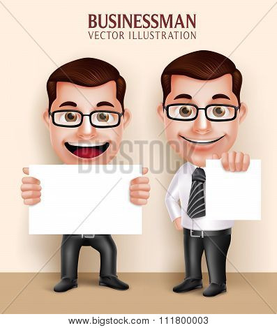 Professional Business Man Character Holding White Blank Paper