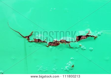 Rusty Cracked On Turquoise Metal Wall