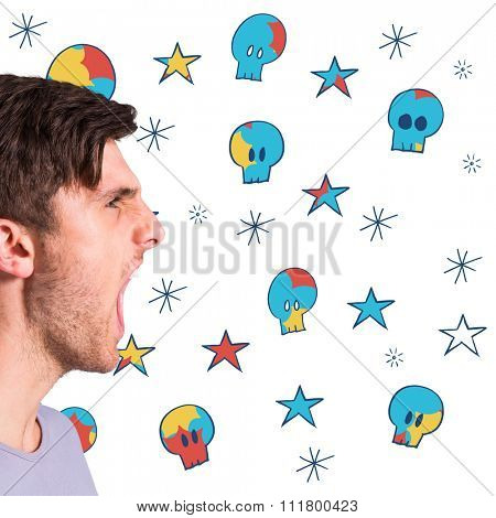 Angry young man with stubble shouting against swearing doodles