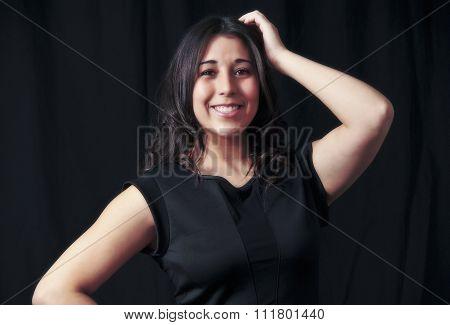 model in black skirt