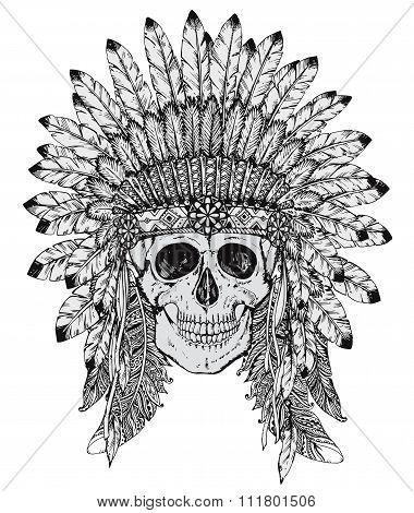 Hand Drawn Vector Illustration Of Indian Headdress With Human Skull