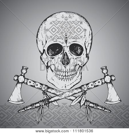 Hand Drawn Illustration Of Human Skull, Two Tomahawks And Ethnic Ornament.