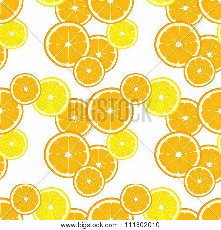 Vector seamless background with orange and lemon slices.