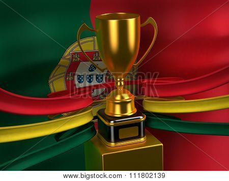 Portuguese Republic flag with gold cup