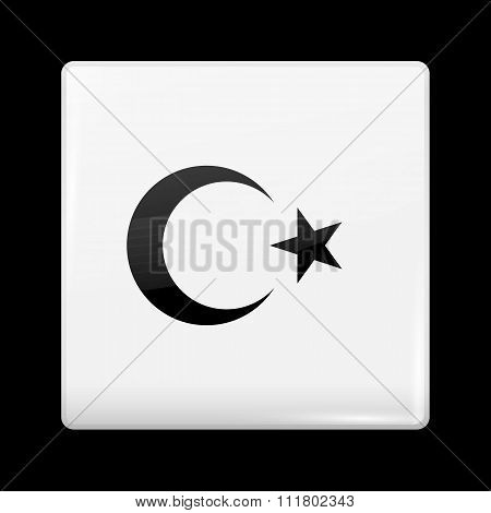 Turkey Variant Flag. Glassy Icon Square Shape
