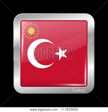 Turkey Variant Flag. Metallic Icon Square Shape