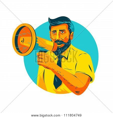 Bearded Hipster Man With Megaphone Wpa