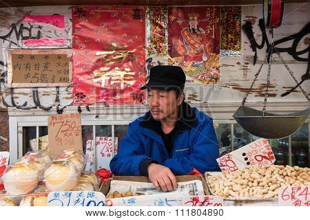 Asian Vegeteble Stall Vendor
