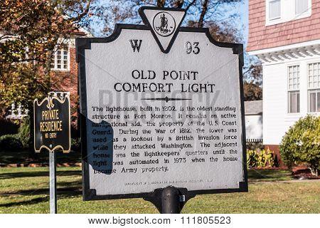 Sign Marker for Old Point Comfort Lighthouse