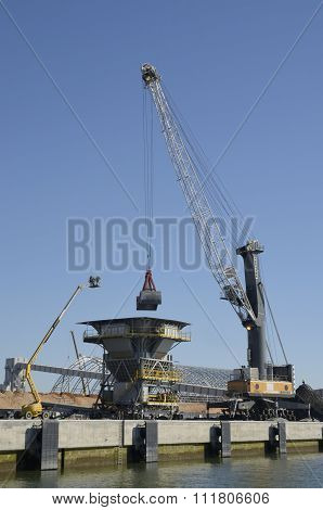 Crane Unloading Chemical Goods