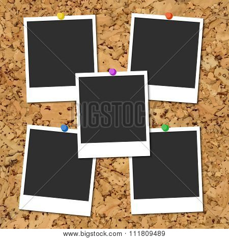 Vector cork board with photo cards and color pin