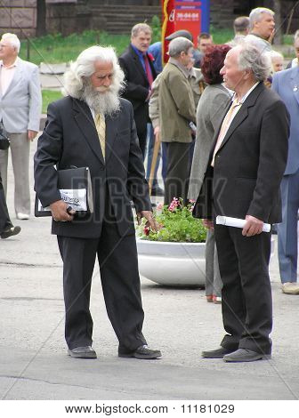 Two Grey-headed Elderly Men Speak On Central Area The Name Of Lenin, Sanctified To May Day
