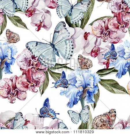 Beautiful watercolor pattern with butterflies and flowers orchid and iris