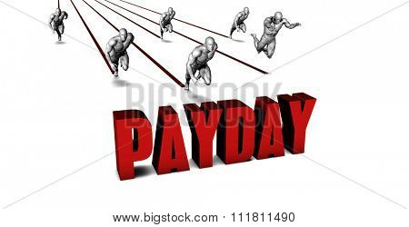 It Is Payday with a Business Team Racing Concept