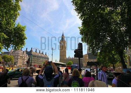 LONDON - JULY 15. 2013: Big Ben and the main street in London on July 15.2013 in England.