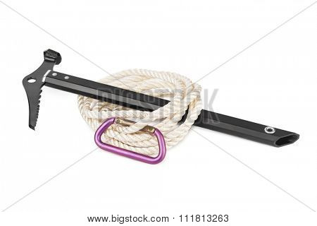 Ice axe, carbine and rope isolated on white background