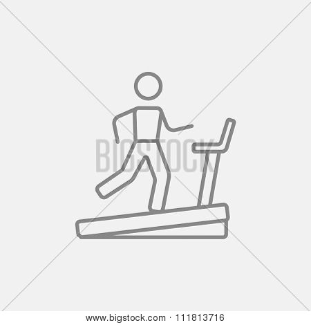 Man running on a treadmill line icon for web, mobile and infographics. Vector dark grey icon isolated on light grey background.