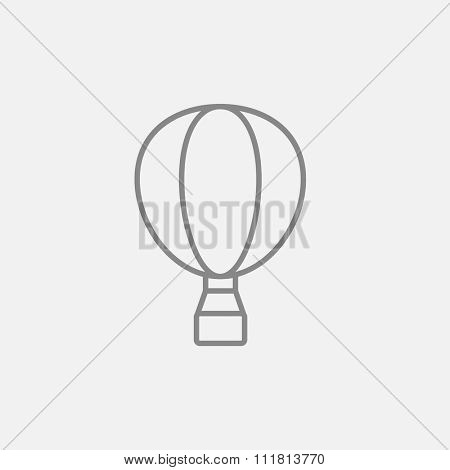 Hot air balloon line icon for web, mobile and infographics. Vector dark grey icon isolated on light grey background.